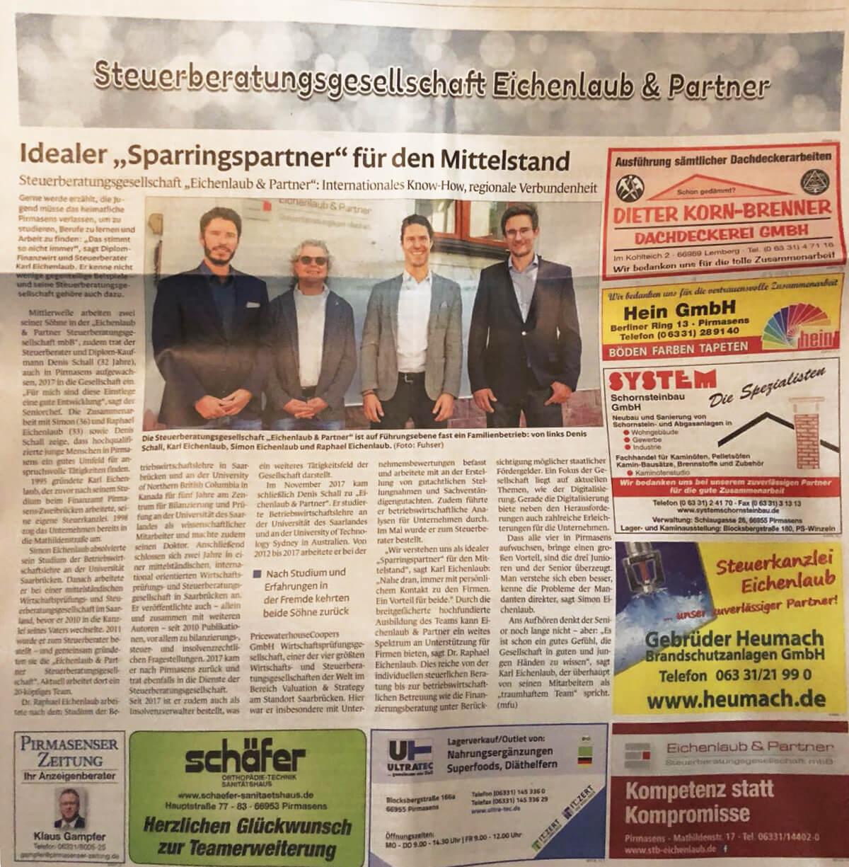 Eichenlaub & Partner in der Lokalpresse
